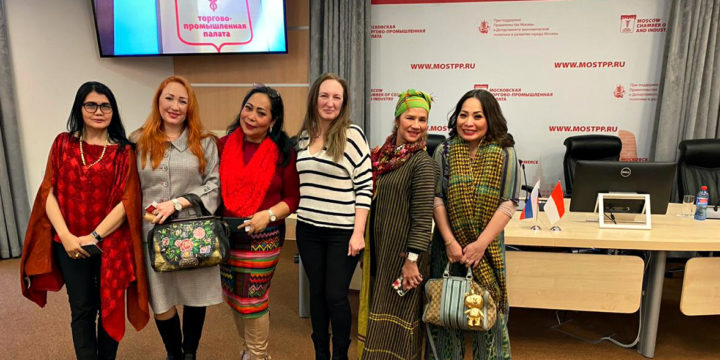 Meeting with women entrepreneurs from Indonesia in the Moscow chamber of Commerce.