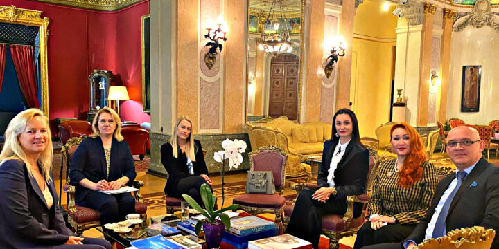 the International women's Union  met with the International women's club in the mansion of the Italian Embassy.